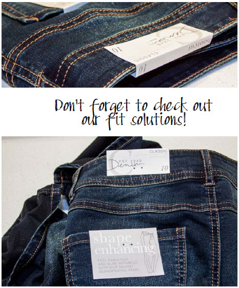 Don't forget to check out our fit solutions! Examples of tags that show fit solutions on Cato jeans.