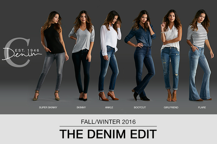 Fall/Winter 2016 The Denim Edit. Six Styles of Jeans shown including Super Skinny, Skinny, Ankle, Bootcut, Girlfriend and Flare.