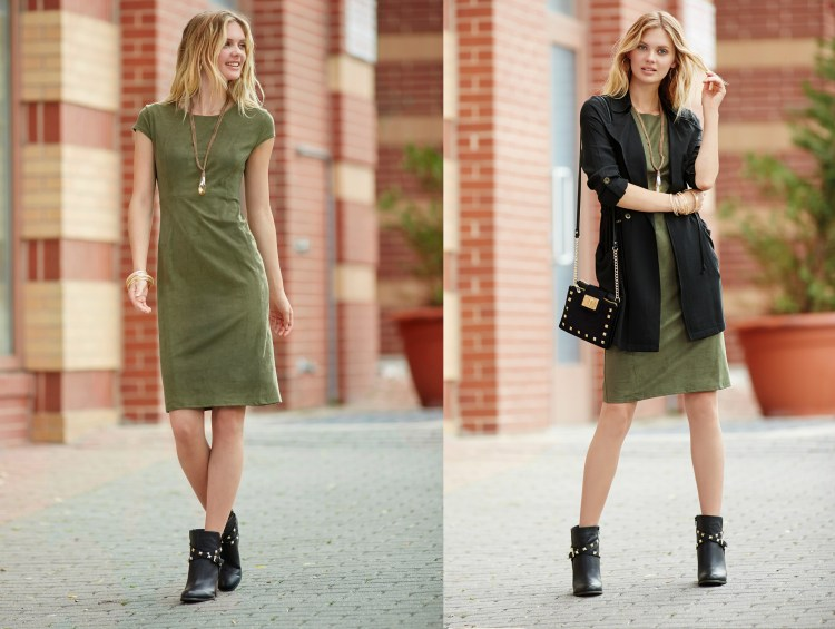 A faux suede olive green dress styled with a black lightweight jacket, studded handbag and ankle boots.