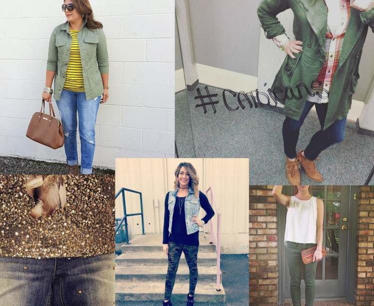 A collage of Cato customers wearing the utilitarian trend.
