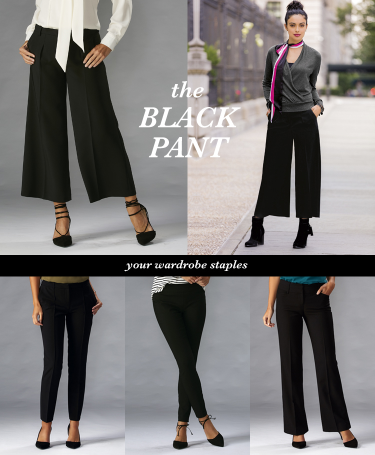The Black Pant. A variety of black pants.