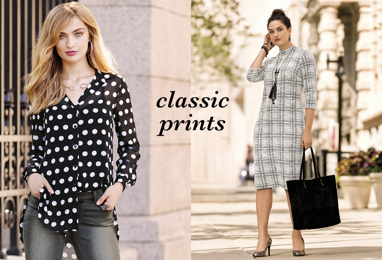 Classic Prints. Two women in polka dots and plaid.