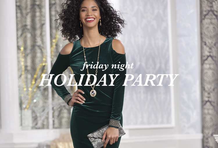 Friday Night Holiday Party. A beautiful woman happily smiling at the camera in a velvet holiday dress.