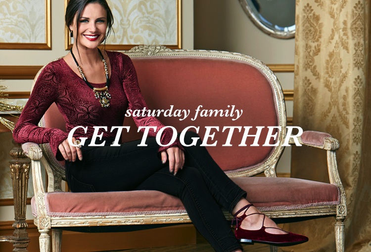 Saturday Family Get Together. A young woman in a velvet top, velvet flats and black pants.