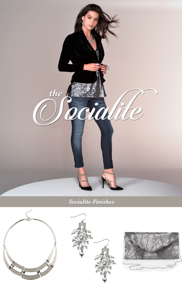 The socialite. A model wears a sequin metallic top, velvet blazer, jeans and heels. A silver bib necklace, shaking earrings and a beaded clutch finish the look.