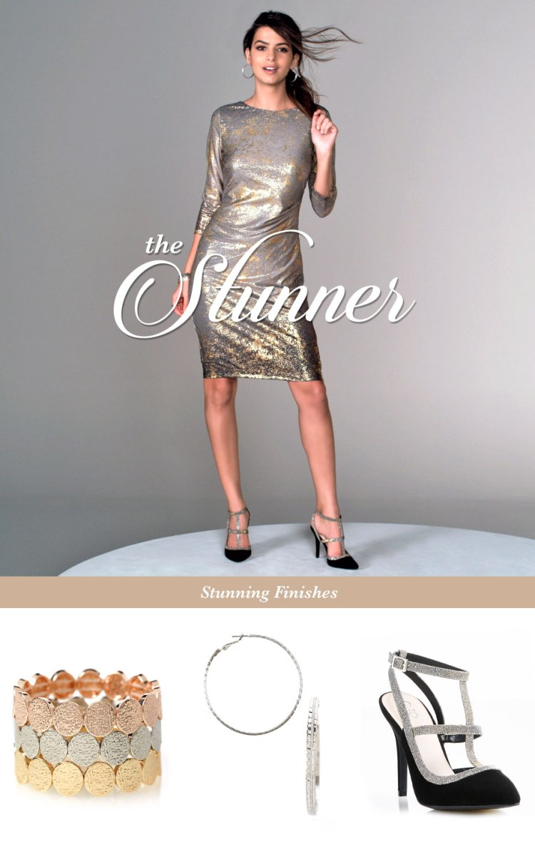 The Stunner. A model wearing a metallic shift dress. A mixed metal stretch bracelet, hoop earrings and heels finish the look.