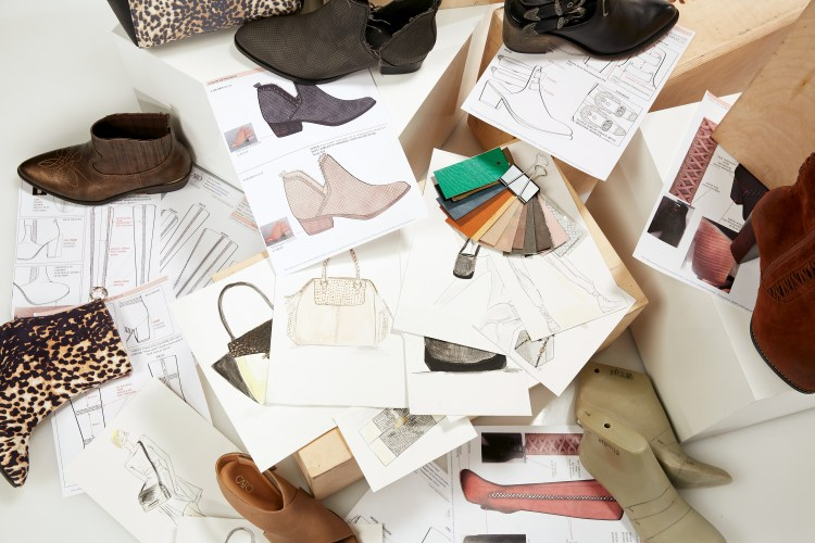 A collection of sketches, boots, fabric swatches and photos of boots and handbags.