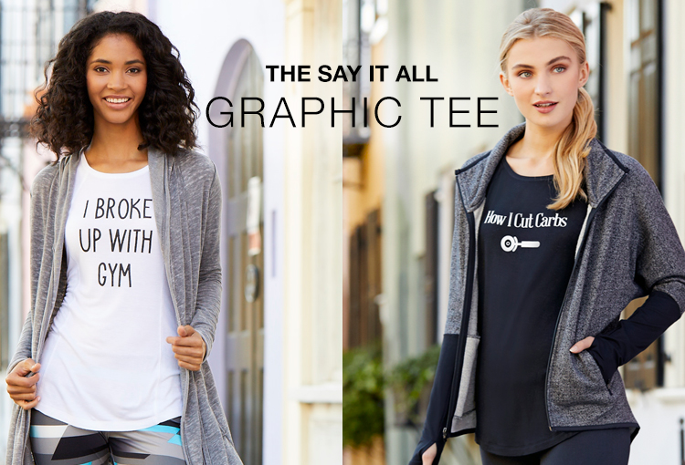 "The Say It All Graphic Tee. Two women wearing graphic tees that say, ""I Broke Up With Gym,"" and ""How I cut Carbs."""