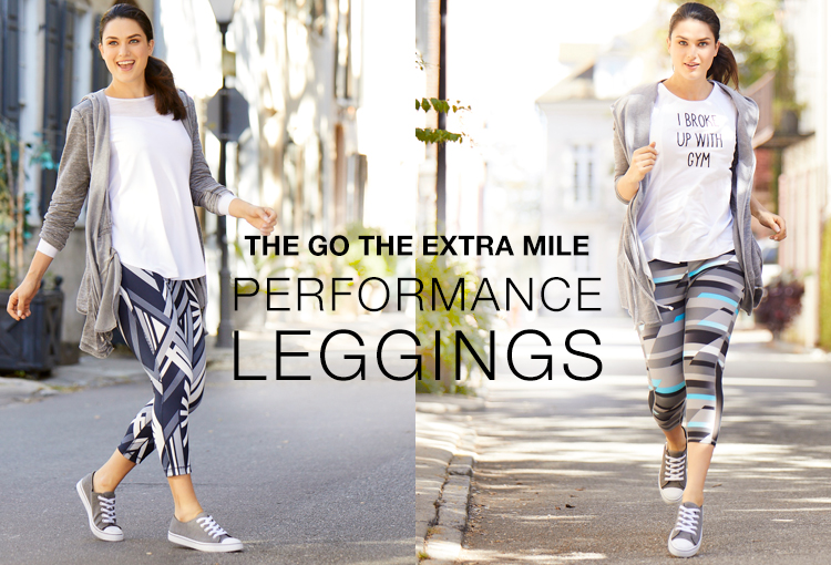 The Go The Extra Mile Performance Leggings. A woman being active outside wearing Cato Performance leggings.