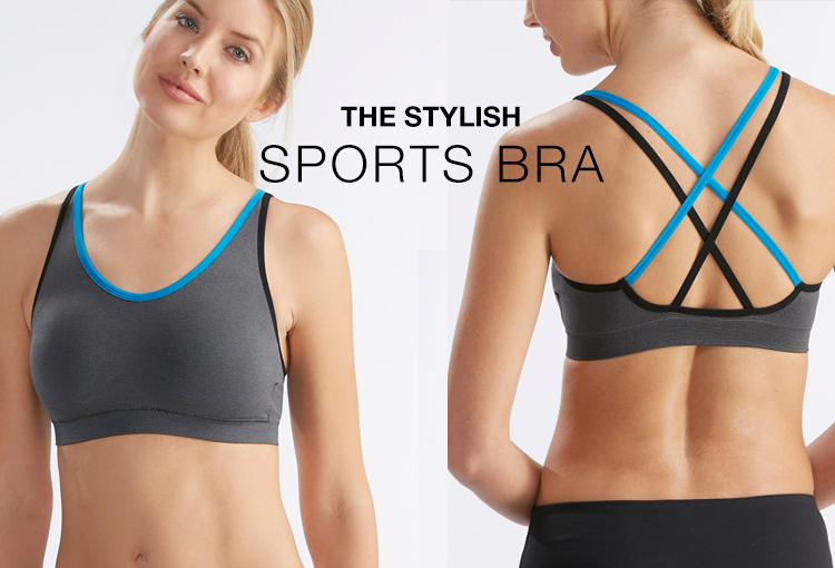 The Stylish Sports Bra. Shown on a model front and back.