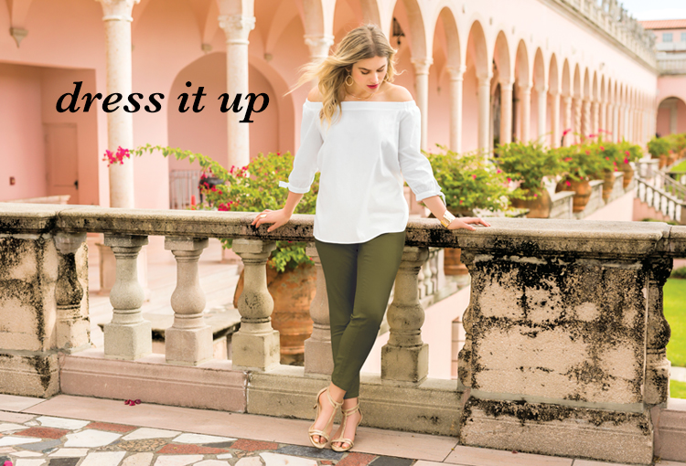 Dress it Up. A beautiful woman wearing an off the shoulder white top with olive chino pants and sandals.