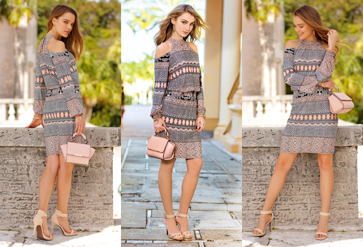 A beautiful woman wearing a printed cold shoulder dress with nude heels and handbag, this look is perfect for a date night.