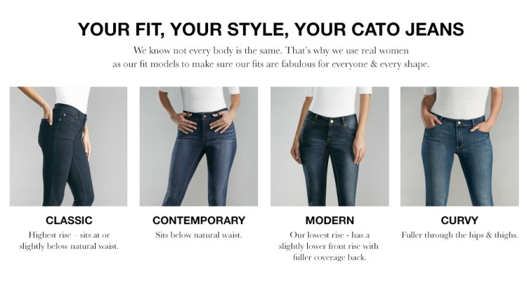 "Caption: Your Fit, Your Style, Your Cato Jeans. We know not every body is the same. That's why we use real women as our fit models to make sure our fits are fabulous for everyone and every shape."" The Classic: High Rise - Sits at of slightly below natural waist. Contemporary: Sits below natural waist. Modern: Our lowest rise - has a slightly lower front rise with fuller coverage back. Curvy: Fuller through the hips and thighs."