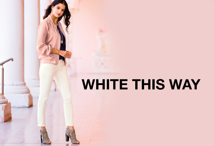 White This Way. A beautiful woman in white denim.