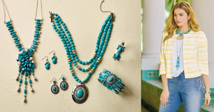 Model wearing yellow jacket and turquoise jewelry