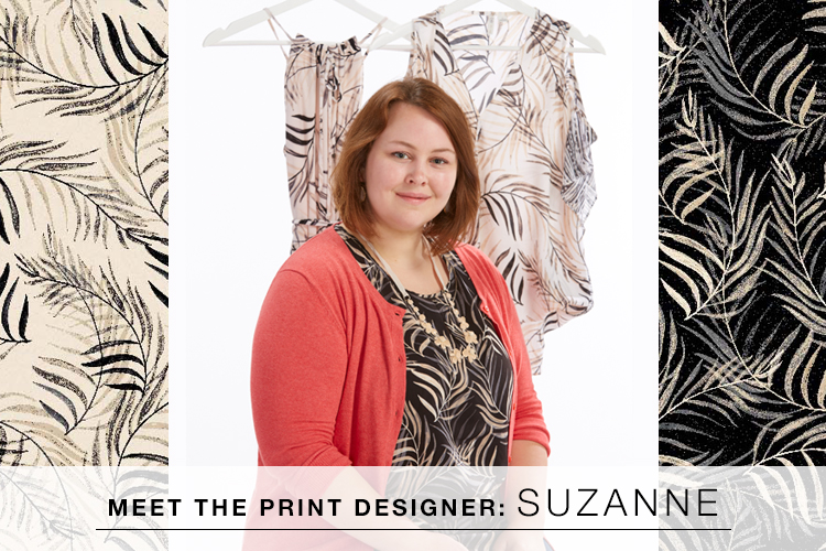 Meet the Print Designer: Suzanne. Suzanne surrounded by some of her latest prints.