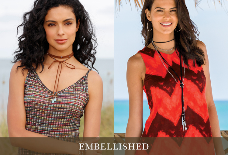 Embellished. Two models wearing embellished chokers style necklaces