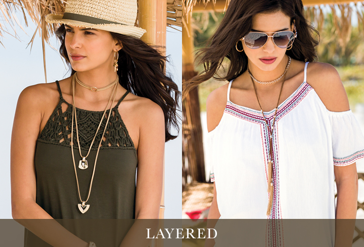 Wear Chokers Layered with other longer necklaces. Two models showing examples of how to do this.