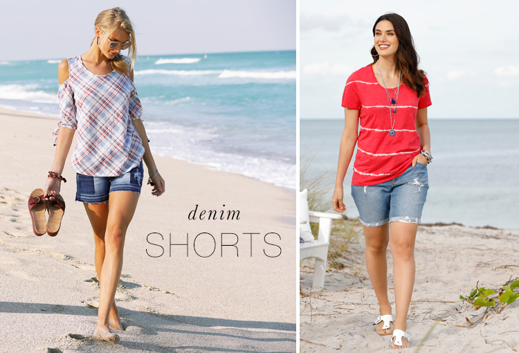 Denim Shorts. Two models wearing denim shorts on the beach