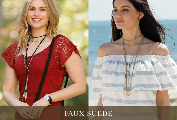 Faux Suede. Two models showing examples of chokers that are faux suede