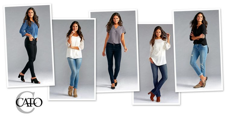 Five different styles of Cato denim