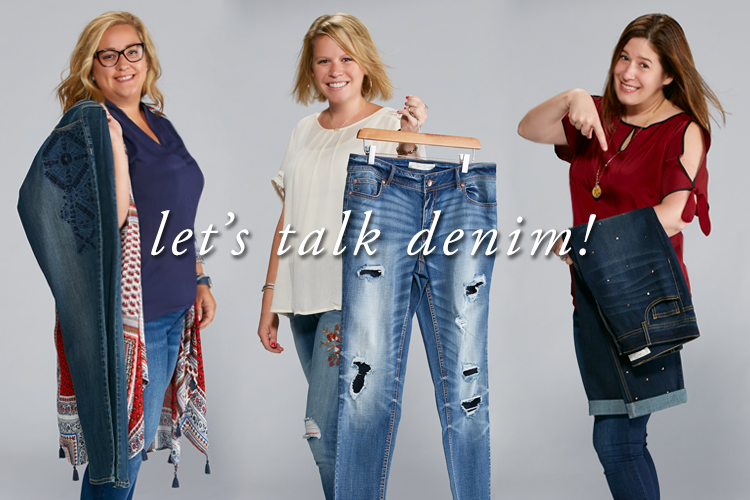 Three Cato denim buyers holding a variety of Cato denim