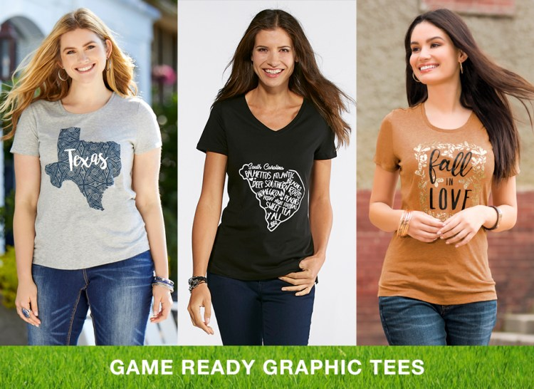 """Caption, """"Game Ready Graphic Tees"""" with three women in fun graphic tees"""