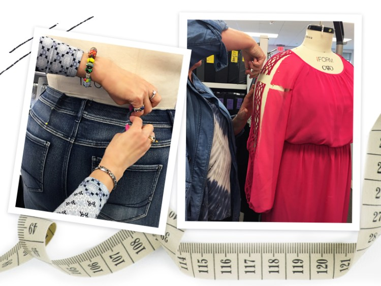 jeans being altered on a dress form and a dress being altered on a dress form