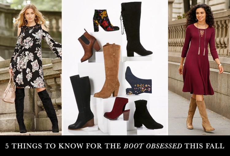 "A mixed selection of boots with caption, ""5 things to know for the boot obsessed this fall."""
