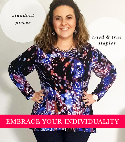 "A woman in a long sleeve printed top with captions, ""standout pieces,"" ""tried and true staples,"" ""Embrace your individuality."""