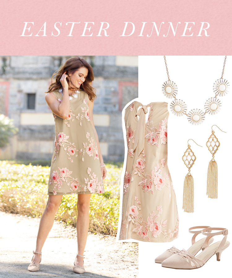 """Easter Dinner"" A woman wearing a neautral floral shift dress, nude heels, a statement necklace and earrings."