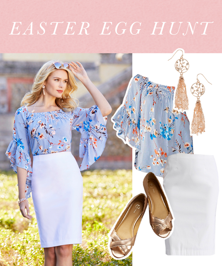 """Easter Egg Hunt"" A woman in a white pencil skirt, floral angel sleeve top, flats and gold earrings."