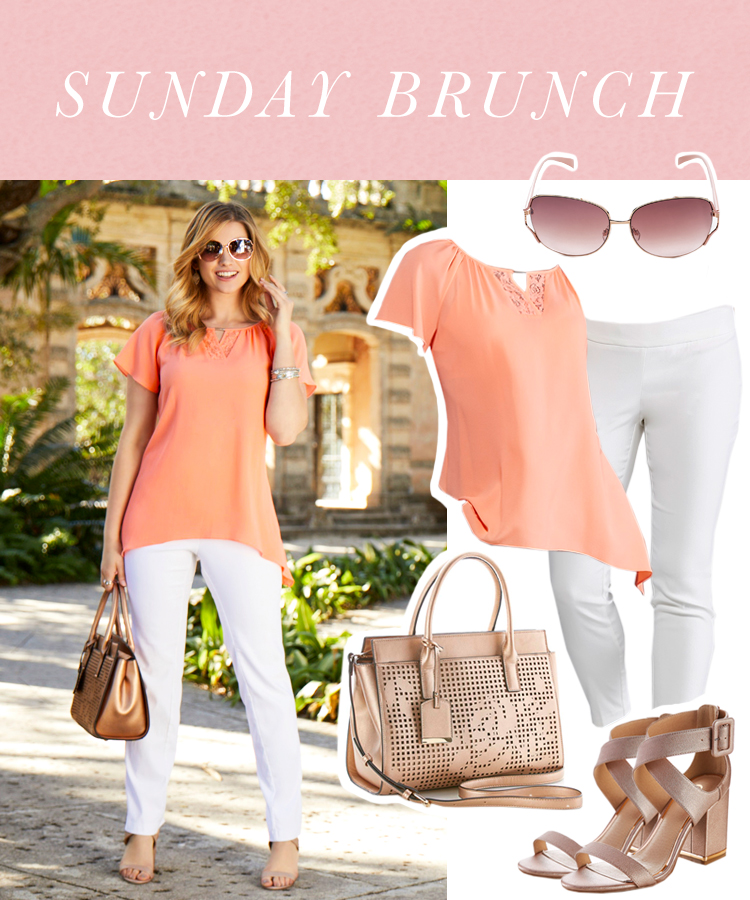 """Sunday Brunch"" Woman in white pants, coral flowy top, heeled sandals and a neutral handbag."