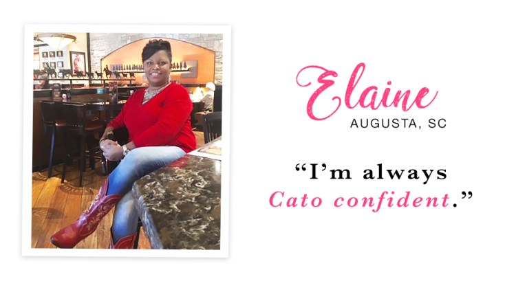 "A young woman sitting at a restaurant wearing a red sweater, jeans and boots. Captioned, ""I'm always Cato confident. - Elaine, Augusta, SC."""