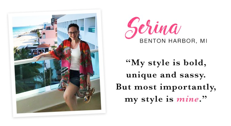 "A young woman standing on a balcony at the beach wearing a colorful kimono, denim shorts and sandals. Captioned, ""My style is bold, unique and sassy. But most importantly, my style is mine. - Serina, Benton Harbor, MI."""
