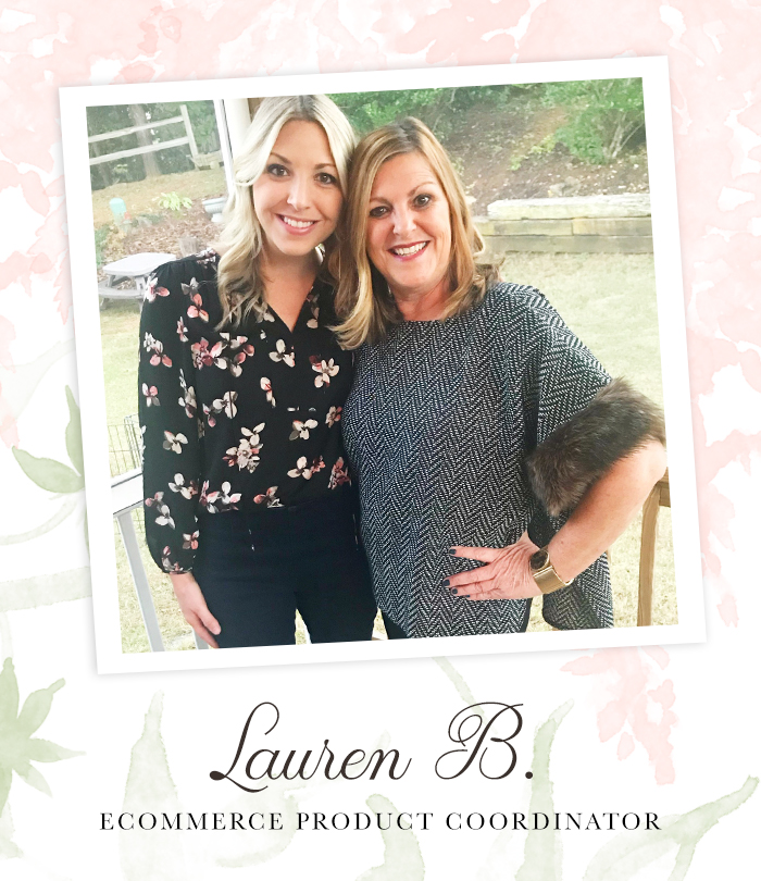 "A beautiful mother and her adult daughter standing outside smiling happily at the camera. Captioned, ""Lauren B. Ecommerce Product Coordinatior"