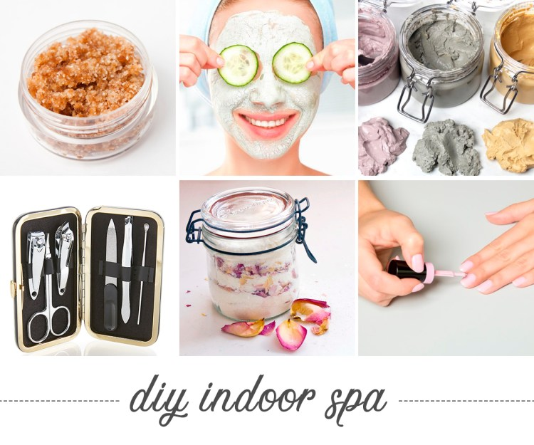 DIY Indoor Spa. Photos of spa componets like sugar scrub, face masks and nail polish.