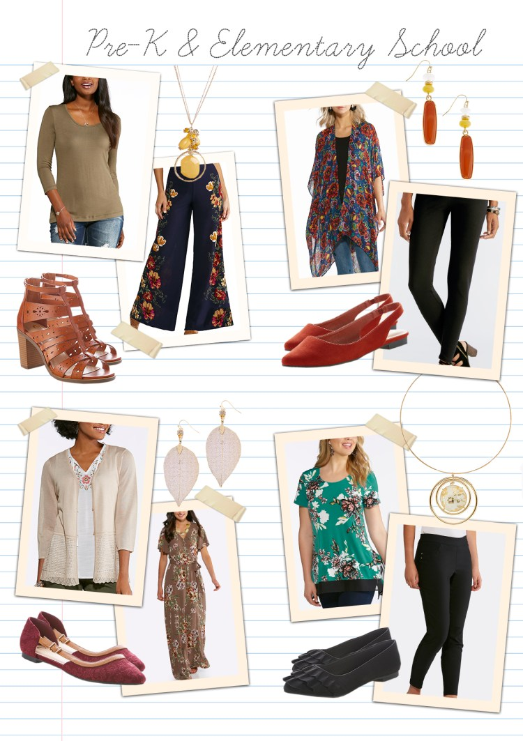 Teaching in style: Pre-K and Elementary School with examples of items that are comfortable but still fashionable, like ponte pants, flowy tops and flats.