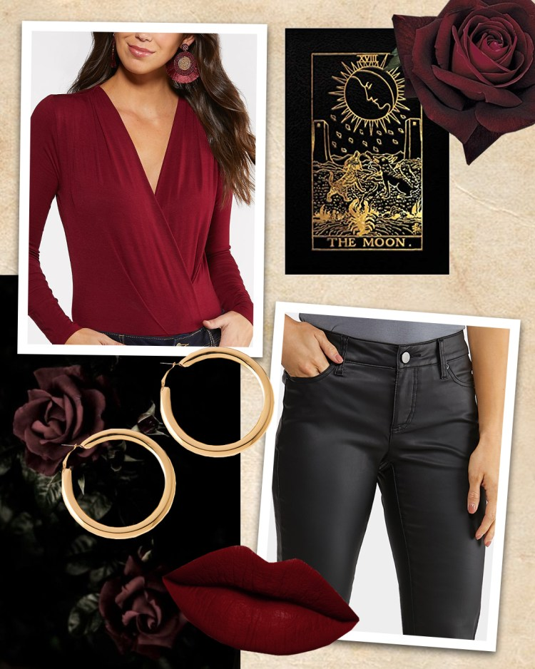 deep red bodysuit, faux leather black pants, and golden hoop earrings.