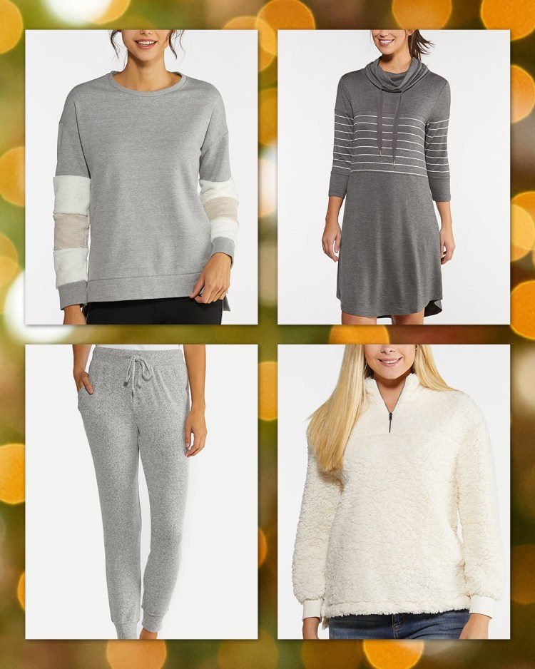 Four lounge wear items available at Cato Fashions including our fur cuff sweatshirt, cowl neck stripe dress, hacci jogger pants, and cozy fleece pullover top