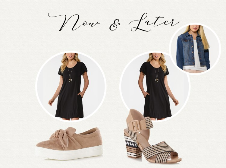 Flutter sleeve swing dress in black, black and white raffia heeled sandals, faux suede platform sneakers in taupe, and the classic denim jacket in medium wash.