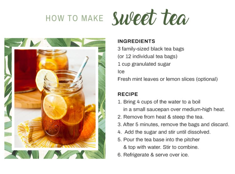 Recipe on how to make sweet tea with black tea, granulated sugar, ice, and mint leaves or lemon slices