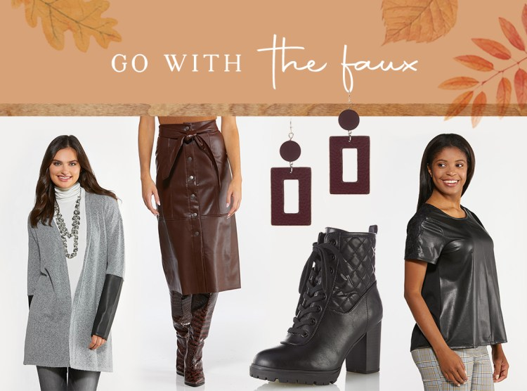 Collection of faux leather styles featured at Cato Fashions including the Faux Leather Sleeve Cardigan, Quilted Lace Up Boots,Geo Faux Leather Earrings,Faux Leather Lace Sleeve Top,Faux Leather Midi Skirt, and Tall Crocodile Textured Boots