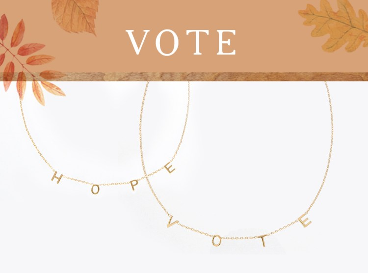 "Gold Cato Fashions necklaces featuring the phrases ""HOPE"" and ""VOTE"""