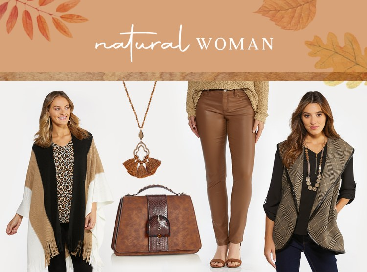 Natural tone pieces from Cato Fashions in shades of brown and neutral hues featuring our Fringed Colorblock Wrap, Wood Bead Fan Tassel Necklace,Snake Buckle Structured Crossbody, Caramel Coated Skinny Jeans, and Plaid Faux Trim Vest.