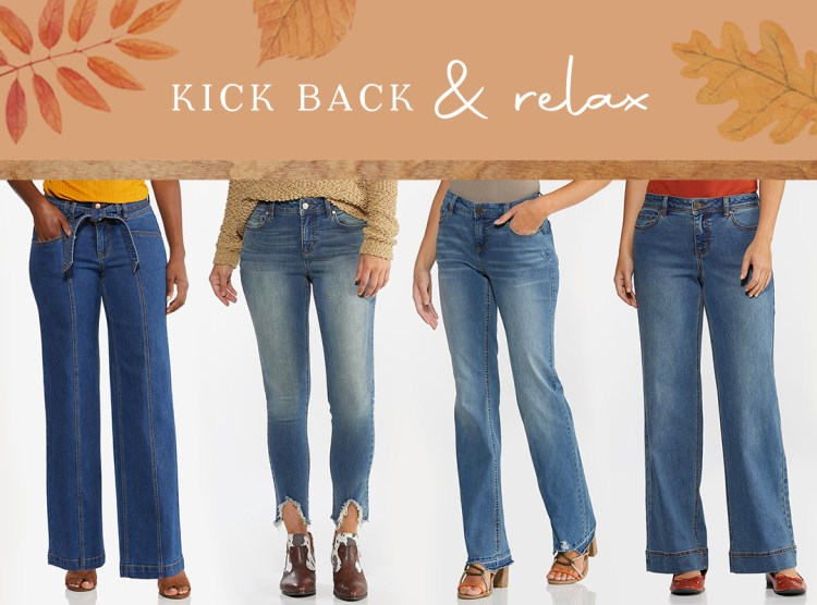 Cato's denim styles come in a variety of fits and washes. Here we're featuring our Tie Front Flare Jeans, Frayed Hem Jeggings, Curvy Flare Jeans, and High-Rise Wide Leg Jeans.