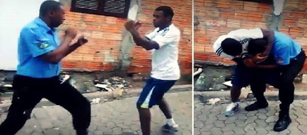 Em vídeo, briga de rua entre vigilante e um outro rapaz termina em morte