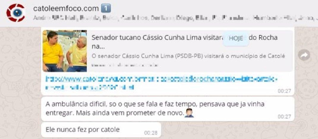 Com a notícia da vinda de Cássio à Catolé, população mostra sua revolta em grupos de aplicativo, confira!