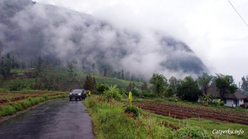 Kalau yang ini adalah jalan menuju Taman Nasional Bromo Tengger Semeru dari arah Probolinggo. Sudah saya bilang sebelumnya kan? kalau perjalanan darat ini akan melewati pasir berbisik Gunung Bromo?