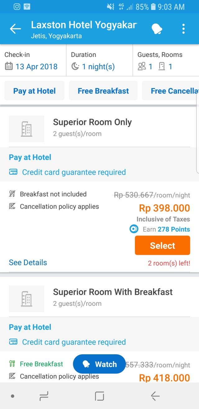 3. Pilih kamar yang bisa dipesan dengan fasilitas pay at hotel ini